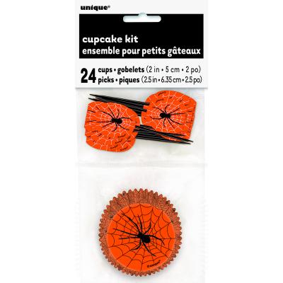Spider Web Cupcake Case & Pick 24PK