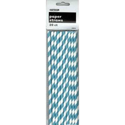 Stripes Teal Paper Straws 20PK