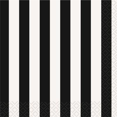 Stripes Black Beverage Napkins 16PK