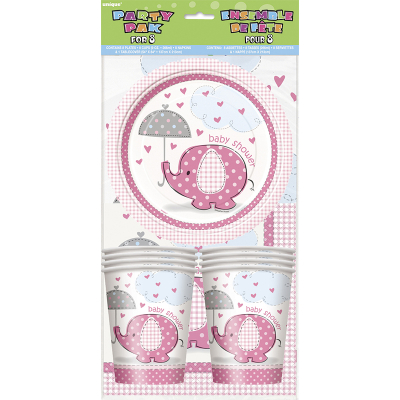Umbrellaphants Pink Party Pack Plate Cup Napin Tablecover 25PK