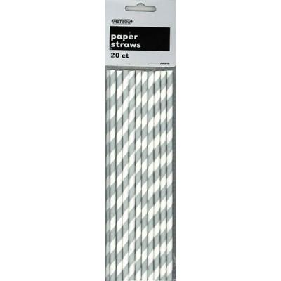 Stripes Silver Paper Straws 20PK