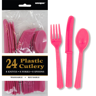 Cutlery Pink Inc Fork Spoon Knife 24PK