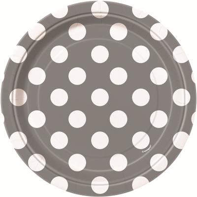 Polka Dots 17cm Plates Silver 8PK