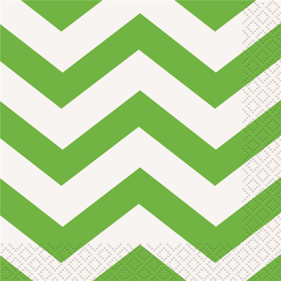 Chevron Beverage Napkins Lime Green 16PK