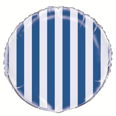 Stripes Royal Blue Foil Balloon