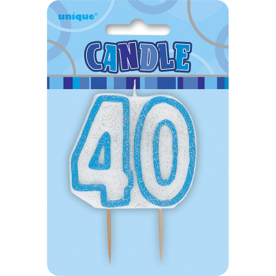 Glitz Birthday Blue Numeral Candle 40th