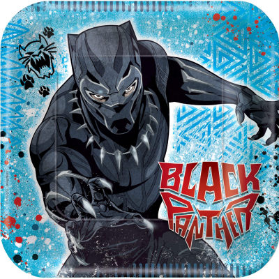 Black Panther 23cm Square Plates 8PK