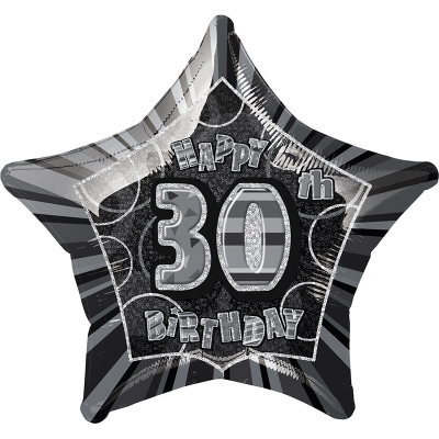 Glitz Birthday Black Star Foil Balloon 30th