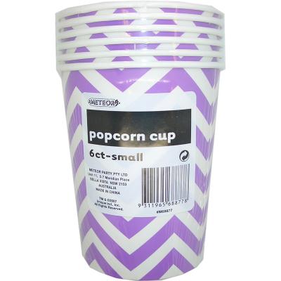Chevron Popcorn Cup Small Purple 6PK