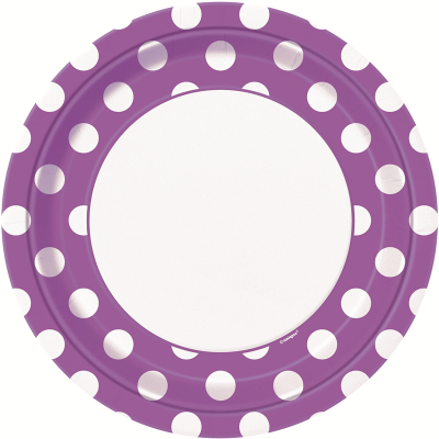 Polka Dots 23cm Plates Pretty Purple 8PK
