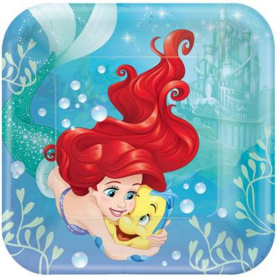 The Little Mermaid Ariel Dream Big 23cm Square Plates 8PK
