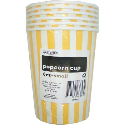 Stripes Yellow Popcorn Cups Small 6PK