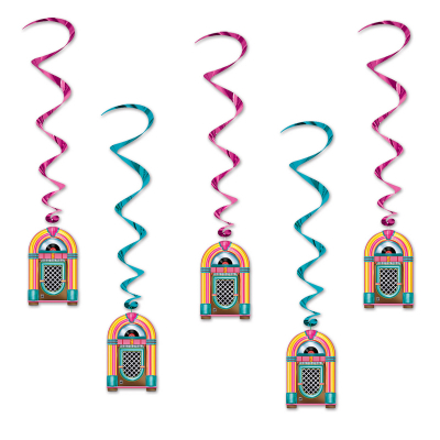 Hanging Decoration Whirls Jukeboxes 5PK