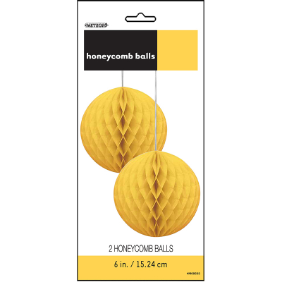Hanging Honeycomb Balls 15cm Yellow 2PK