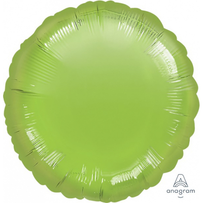 45cm Round Foil Balloon Lime Green Inflated with Helium
