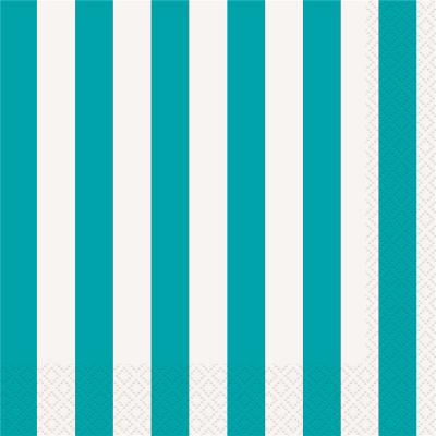 Stripes Teal Beverage Napkin 16PK