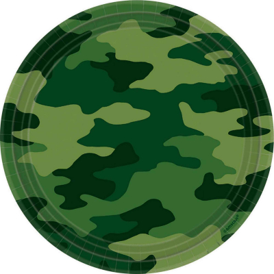 Camouflage 23cm Round Plates 8PK