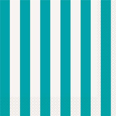 Stripes Teal Luncheon Napkins 16PK