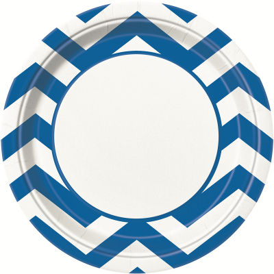 Chevron 23cm Plates Royal Blue 8PK