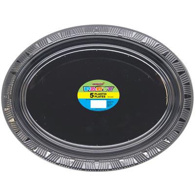 Oval Plastic Plates Black 5PK