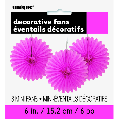 Hanging Decorative Fan 15cm Hot Pink 3PK