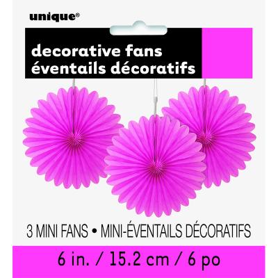 Hanging Decorative Fan 15cm Hot Pink 3PK
