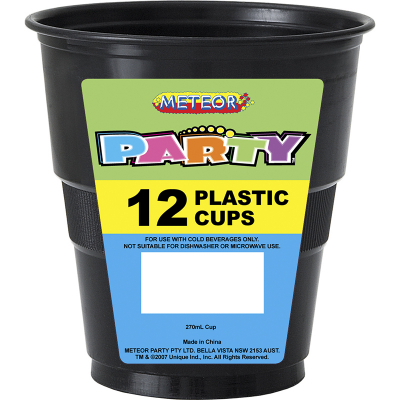 Plastic Cups 270ml Black 12PK