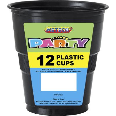 Plastic Cups 270ml Black 12PK