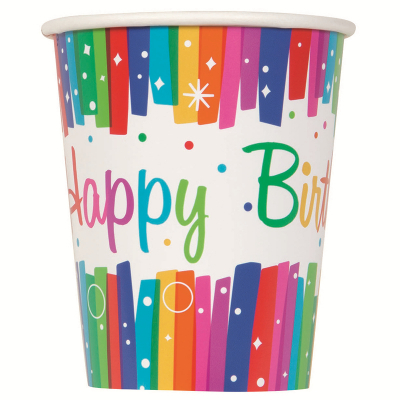 Rainbow Ribbons Paper Cups 270ml 8PK
