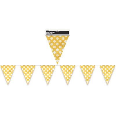 Polka Dots Flag Banner Sunflower Yellow 12PK