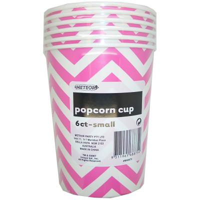 Chevron Popcorn Cups Small Pink 6PK