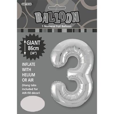 86cm 34 Inch Gaint Numeral Foil Balloon Silver 3