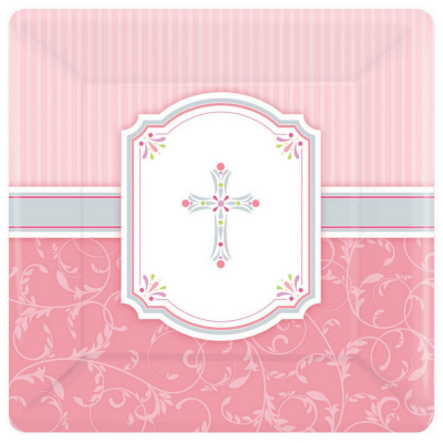 Blessings Pink 26cm Square Plates 8PK