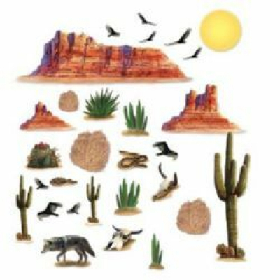 Western Wild West Desert Wall Decorations Insta-Theme Props 29PK
