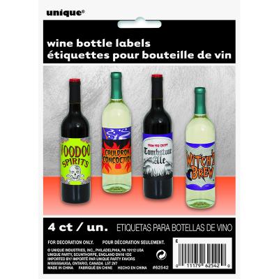 Scary Wine Bottle Labels Stickers 4PK