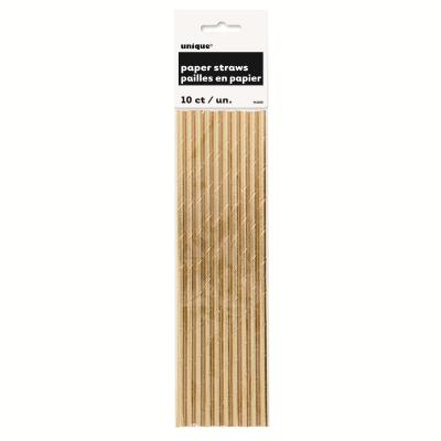 Metallic Gold Foil Paper Straws 10PK