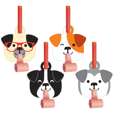 Dog Party Blowouts With Medallions 8PK