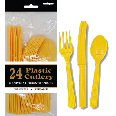 Cutlery Yellow Inc Fork Spoon Knife 24PK