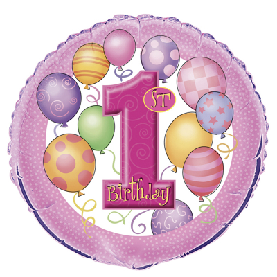 Happy 1st Birthday Pink Foil Balloon