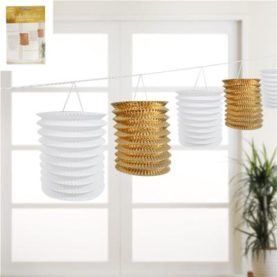 Metallic Gold Lantern Garland 5PK