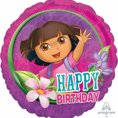Dora 45cm Standard Foil Balloon Happy Birthday