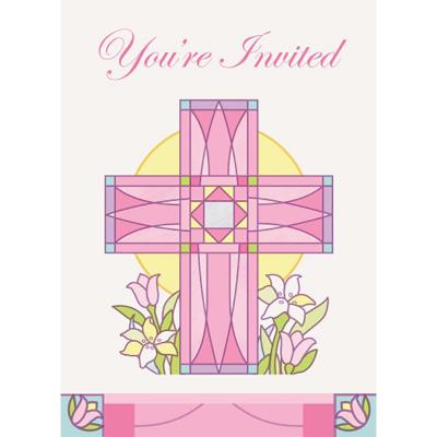 Sacred Cross Pink Invitations 8PK