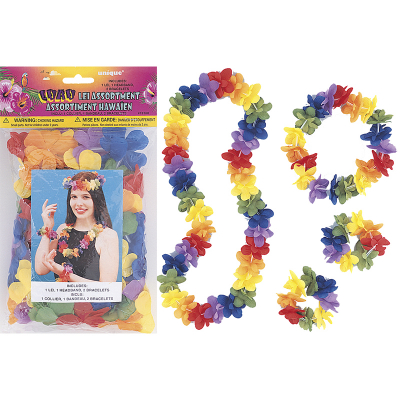Luau Flower Lei Headband Bracelets Set 4PK