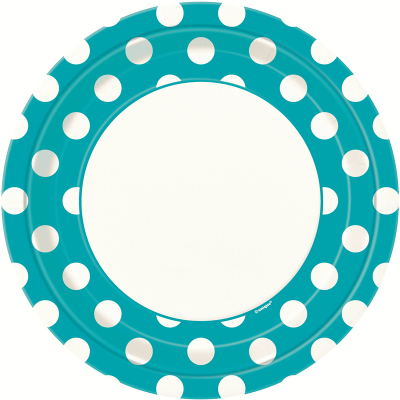 Polka Dots 23cm Plates Caribbean Teal 8PK