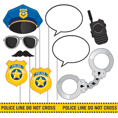 Police Party Photo Booth Props Assorted Sizes 10PK