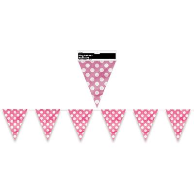 Polka Dots Flag Banner Hot Pink 12PK