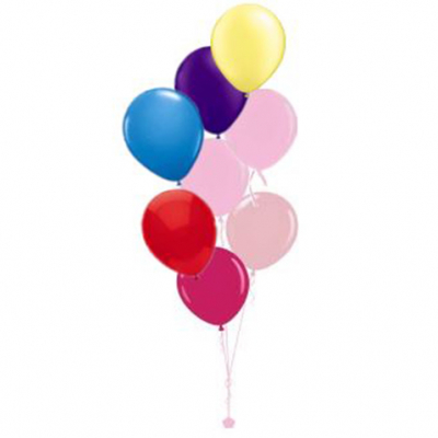 Plain Colour Helium Balloon Bouquests 8 Balloons