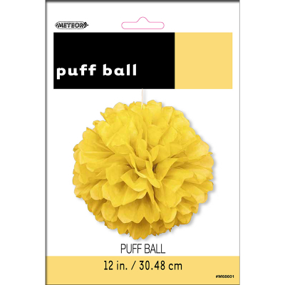 Hanging Puff Ball Decoration 30cm Yellow