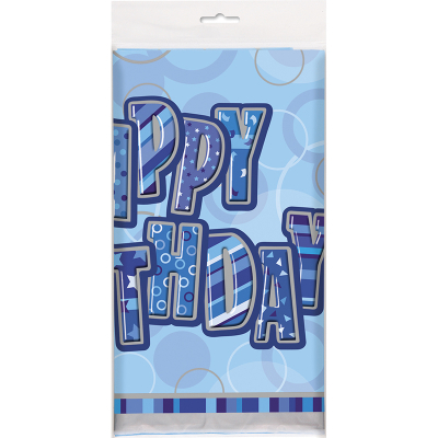 Glitz Birthday Blue Tablecover
