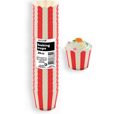 Stripes Red Baking Cup 25PK